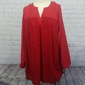 Liz Claiborne woman red blouse size 2x new